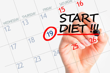 Start diet date marked on calendar