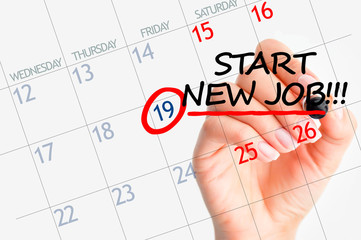 Start new job date in calendar