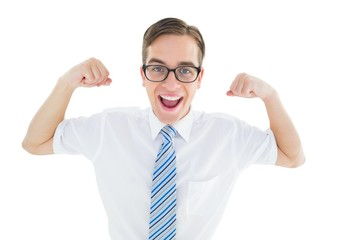 Geeky happy businessman flexing biceps