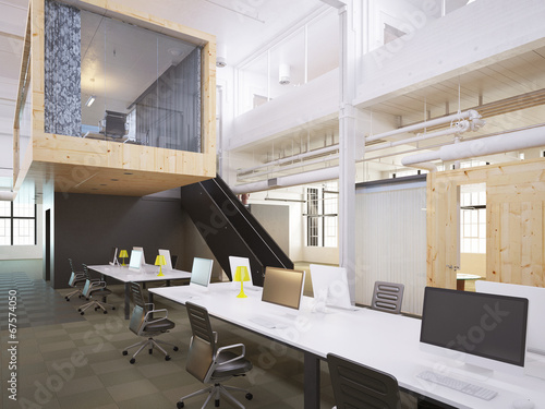 canvas print picture Modernes Loft Büro - modern loft office downtown