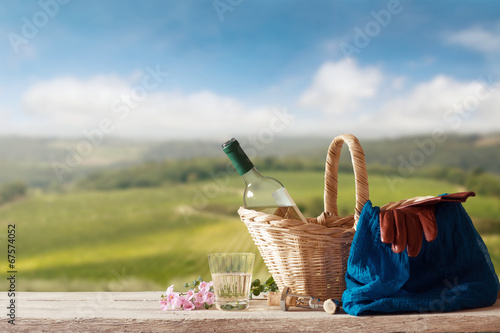 Fotobehang Picknick Picnic for one Person in a mediterranean Landscape