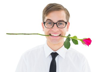 Geeky hipster holding a red rose in his teeth