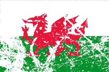 Decayed flag of Wales