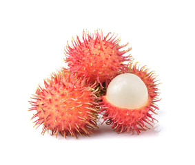 Fresh rambutan sweet delicious fruit  isolated on white backgrou