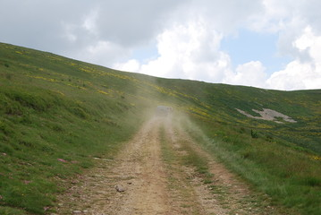 Dusty mountain road