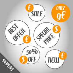 orange shopping circle stickers