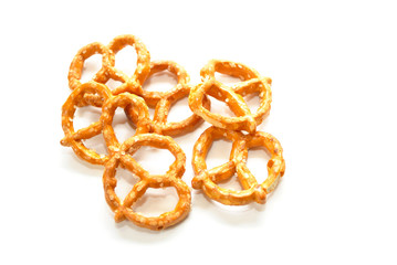 Tasty Snack of Pretzels Isolated Over White