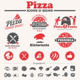 pizza icons, signs & labels - 67575805