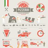 Pizza design elements, delivery service, online food order - 67575811