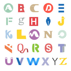 Funky mixed alphabet - set of different letters