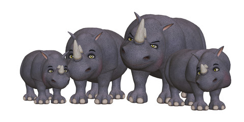 Cartoon rhino family