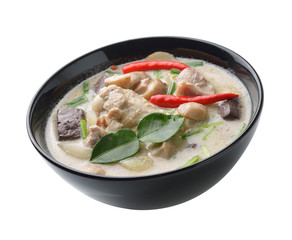 thaifood spicy chicken curry in coconut milk