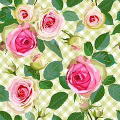 Checked Seamless Pattern with Roses.