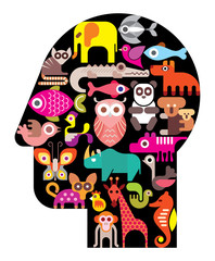 Human head with animal icons