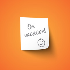 On vacation paper sign