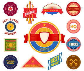 Set of flat colored vintage labels. Collection 8