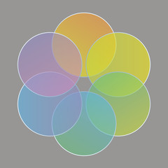 colored circles, arranged in the form of a flower