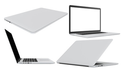 set modern glossy laptop