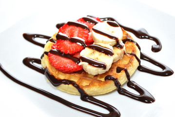 Dessert Waffle with Fresh Strawberry and Banana