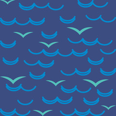 Waves and seagulls in blue colors. Seamless pattern.