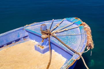 Greek fishing boat at Cyclades islands