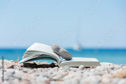 canvas print picture Book on the beach