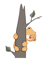 A stuffed toy bear cub on a tree cartoon