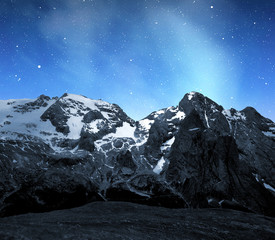 Marmolada peak,Val di Fassa in night - Italy Alps