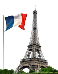 Eifel Tower with French flag on white background