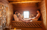Fototapety Young couple in sauna
