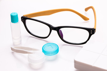 eyeglasses and contact lens care