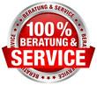 "Button ""100% Beratung & Service"" rot"