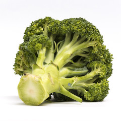 Close up broccoli isolated on white background