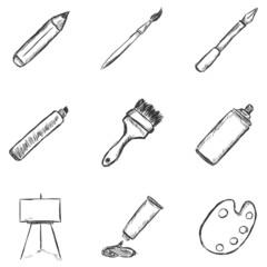 Vector Set of  Sketch Drawing Icons