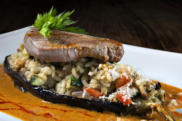 beef with risotto