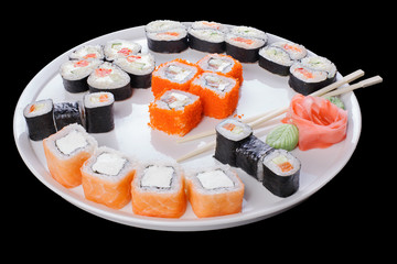 Delicious set of sushi rolls