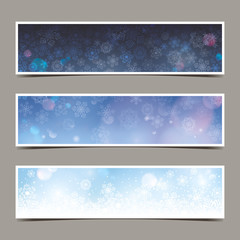 set of winter banners