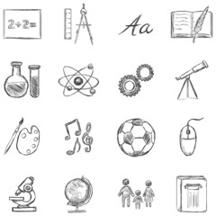 Vector Set of  School Subjects  Icons