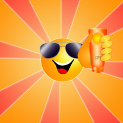 Funny sun with sunscreen