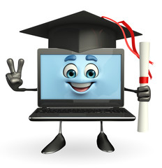 Laptop Character with Graduate HAt
