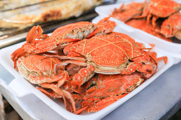 Close-up steamed crabs