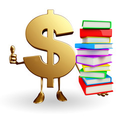 Dollar Character with  pile of books