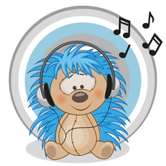 Hedgehog with headphones