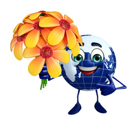 Globe Character with flower