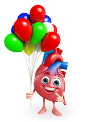 Heart character with balloons