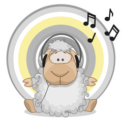 Sheep with headphones