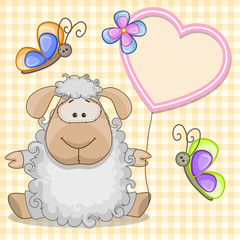 Sheep with heart frame