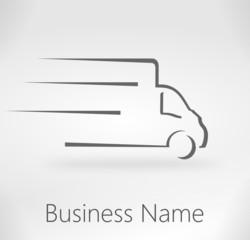 logo fourgon de livraison design gris