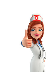 Nurse Character with thumbs up sign