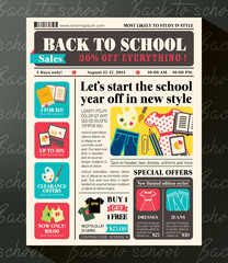 Back to School Sales Design Template in Newspaper style